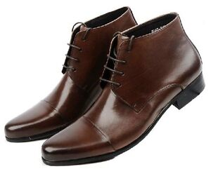 New-mens-leather-shoes-Ankle-Boots-Lace-up-Dress-or-Casual-black-or-brown