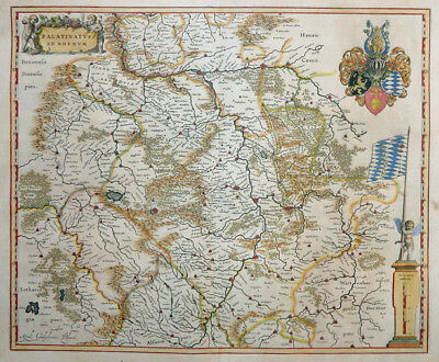 DEUTSCHLAND RHEINLAND PFALZ HESSEN PALATINUS AD RHENUM MAINZ SPEYER BLAEU 1640