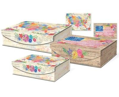 Punch Studio American Beauty Large Nesting Flip Top Boxes  Set Of 3 New