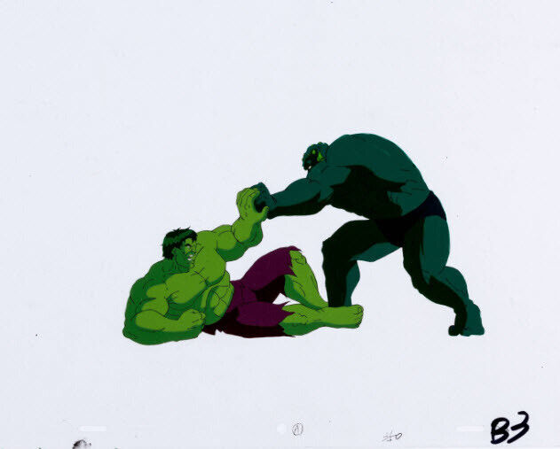 The Incredible Hulk Hulk and The Abomination Production Cel/Animation Drawing
