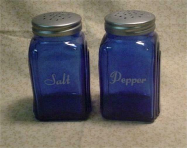 Cobalt Blue Glass Arch Salt & Pepper Shakers RANGE TOP With White Print
