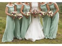 5 true bride designer bridesmaid dresses size 8 , 10 & 12 mint green