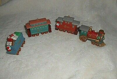 Hallmark '91 4 Piece Train Set Christmas Tree Ornaments Engine Box Cars Caboose