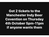 2x Manchester Indy Beer Concention Tickets 04/10/18