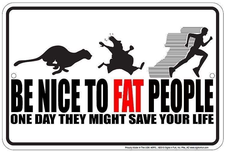 BE NICE TO FAT PEOPLE One Day that May Save Your Life new metal 8x12 sign