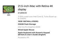 "Brand New Apple iMac 21.5"" 4K Retina 16GB Ram, 256 SSD"