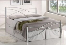 "**MEGA SALE**NEW DOUBLE WHITE METAL BED £89, AND WITH 9""DEEP QUILT MATTRESS £139- EXPRESS DELIVERY"