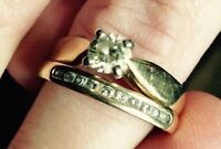 Diamond Solitaire Ring + Wedding Band ($2400 Appraisal)