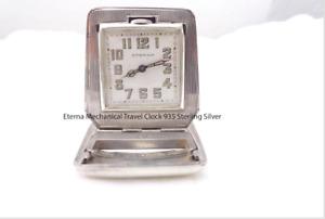 Eterna Mechanical Travel Clock 935 Sterling Silver Art Deco