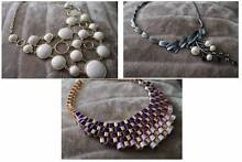 Bundle of 3 Chunky Necklaces - Purple Ribbon Weave, Chunky White Templestowe Manningham Area Preview