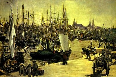 THE HARBOR OF BORDEAUX FRANCE BOATS WINE BARRELS 1871 PAINTING BY MANET REPRO  France Bordeaux White Wine
