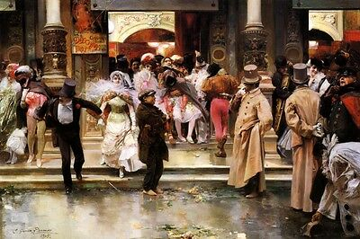 LEAVING THE MASKED BALL PEOPLE IN COSTUMES PAINTING BY JOSE RAMOS REPRO - People In Masks