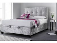 Kaydian Walkworth Ottoman 4ft6 Double Storage Crushed Velvet Silver Fabric Bed