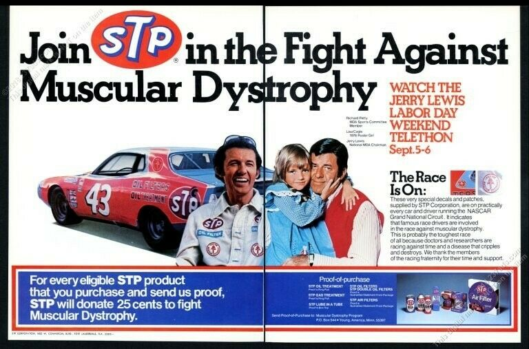 1976 Richard Petty Jerry Lewis photo MDA Muscular Distrophy STP vintage print ad