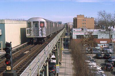 NYCTA Transit slide. Kawasaki R62 subway train on el in Brownsville, Brooklyn