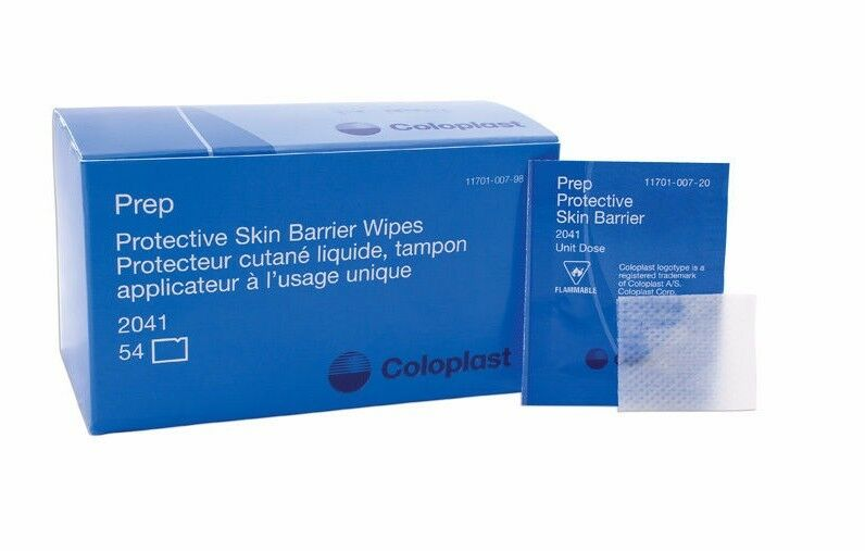 PREP Medicated Protective Skin Barrier Wipes by Coloplast, box of 54