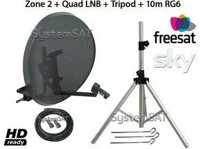 ZONE 2 PORTABLE SATELLITE DISH KIT SYSTEM WITH CAMPING TRIPOD & QUAD LNB