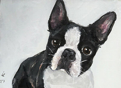 print ADORBS!! ACEO BOSTON TERRIER dog pup painting puppy mini art frenchie ATC