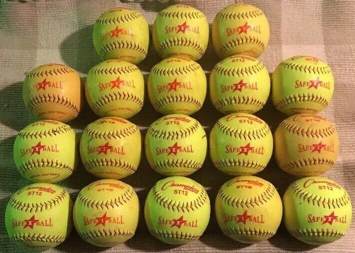 "Huge Lot Of 18 Used Champion Sports Yellow Green Safe T Ball 12"" Inch Softballs"