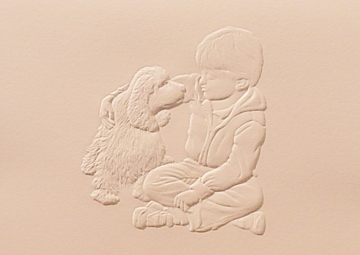 Embossed Boy and His Dog Note Card