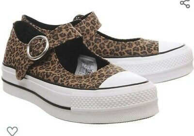 Converse Chuck Taylor All Star Mary Jane Trainers Shoes Leopard Print - Size 4