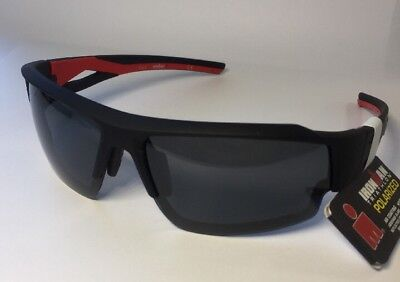 Foster Grant Ironman Corner Black Red Polarized Sunglasses 100% UVA & UVB (Red Polarized Sunglasses)