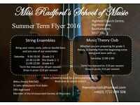 Saturday Music School - String Ensembles ( Violin, Viola, Cello & Double Bass) & Music Theory