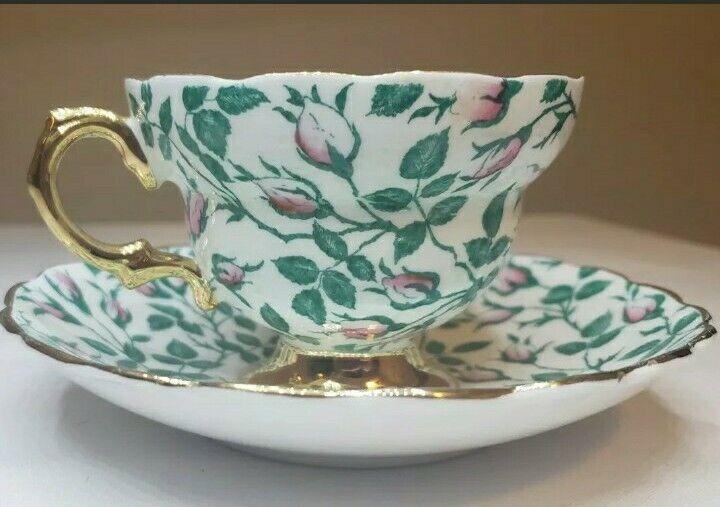 Vintage Rosina Rosebud Chintz Tea Cup and Saucer Set English Bone China Gold...
