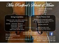 Saturday Music School - String Ensembles ( Violin, Viola, Cello & Double Bass) & Music Theory