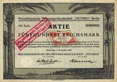 Westafrika Pflanzungs AG Victoria 1926 Berlin Hochspeyer Butzbach Kamerun 500 RM