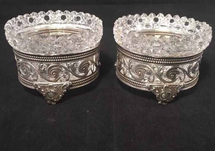 Pair Of Gorham Sterling Silver Open Salts With Fantastic ABP Cut Glass Inserts