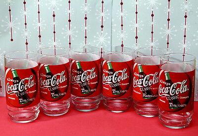 Set of 6 Coca Cola Classic Glasses Glass Tumblers HTF French Design