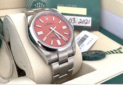 Rolex Oyster Perpetual 41 124300 Coral Red Dial 2021 UNWORN Full Set Box & Paper