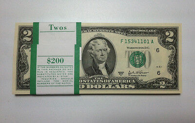 Mint  Uncirculated Two Dollar Bill  Crisp  2 Note  Sequential Order Up To 10