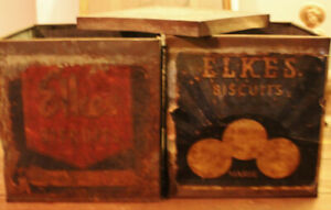 2 Vintage  Confectioners  Elkes Bisuit Tins Early 1900's