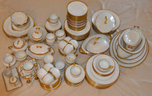 Large Lot of White With Gold Trim Limoge Dishes From the 1920'a