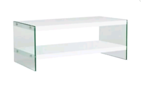 Brand new white gloss glass coffee table
