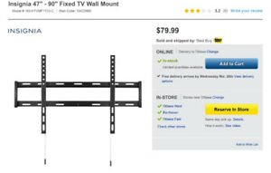 "47-90"" tv wall mount NEW 60$ reg 80$"