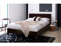 ★★ Quality Guarantee ★★ Modern Faux Leather Bed Frame Black/Brown With Semi Orthopedic Mattress