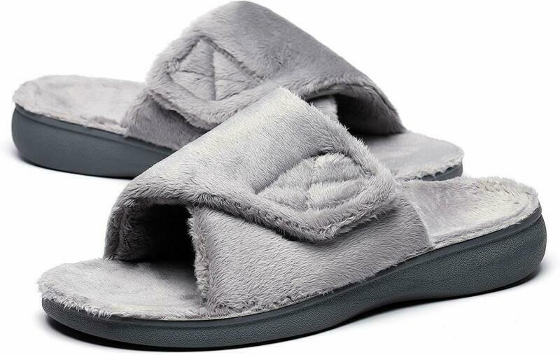 SOLLBEAM Fuzzy House Slippers with Arch Support Orthotic Hee