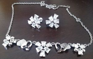 VINTAGE STAR ART Sterling /Marquise Rhinestones A1 SET...