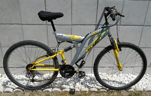 nice YELLOW/SILVER MOUNTAIN BIKE,front&rear suspensions