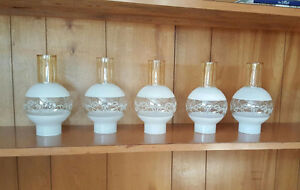 Collection of Antique Hurricane Lamp Shades (5)