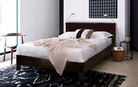 【BUY WITH CONFIDENCE】CHEAP BED FRAME DOUBLE / KING SIZE LEATHER BEDS WITH MEMORY FOAM MATTRESS DEAL