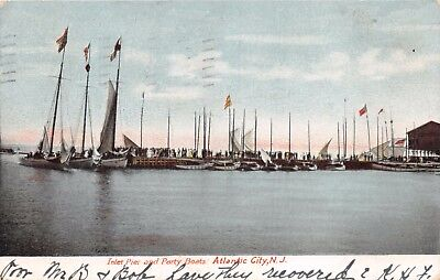 ATLANTIC CITY NEW JERSEY~INLET PIER AND PARTY BOATS AT WHITE WINGS~POSTCARD 1908