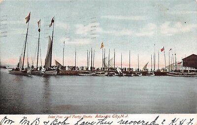 RSEY~INLET PIER AND PARTY BOATS AT WHITE WINGS~POSTCARD 1908 (Jersey City Party City)