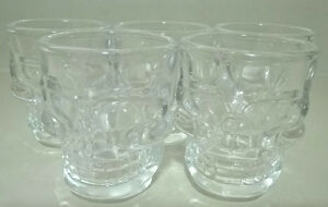 Crystal Clear Skull Shot Glasses, Set of 5