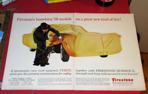 COOL 1958 FIRESTONE TIRES AD WITH CHEVY IMPALA UNDER COVER RETRO