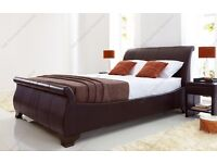 Leather sleigh Super King Bed and mattress