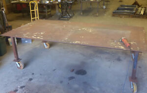 """steel work welding table 5x10  3/8"""" inch thick plate on wheels"""